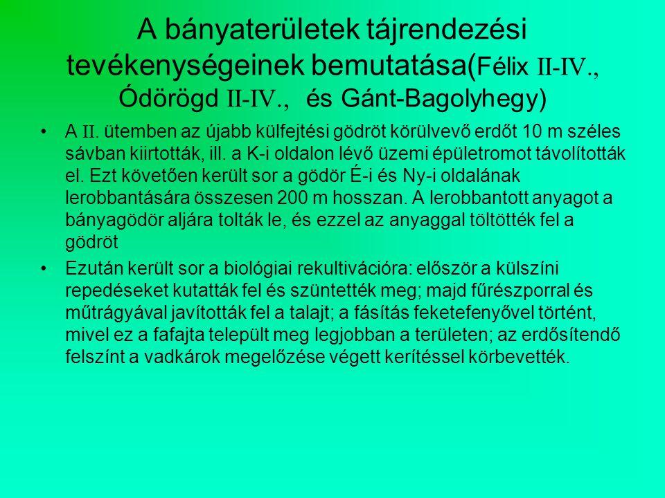 A bányaterületek tájrendezési tevékenységeinek bemutatása( Félix II-IV., Ódörögd II-IV., és Gánt-Bagolyhegy) A II.