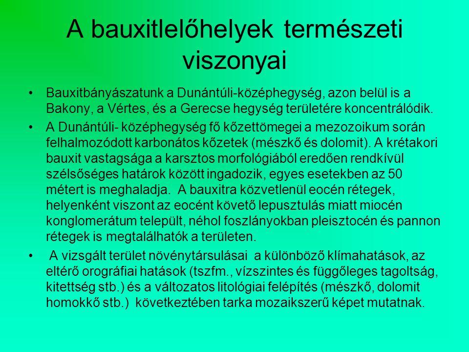 A bauxitlelőhelyek természeti viszonyai Bauxitbányászatunk a Dunántúli-középhegység, azon belül is a Bakony, a Vértes, és a Gerecse hegység területére koncentrálódik.