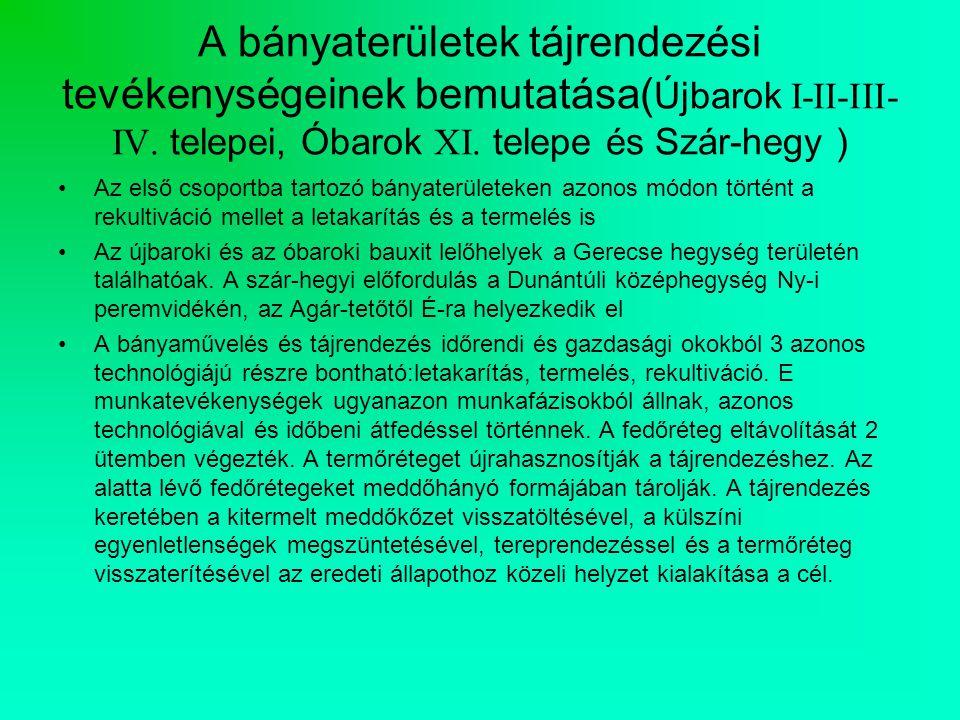 A bányaterületek tájrendezési tevékenységeinek bemutatása( Újbarok I-II-III- IV.