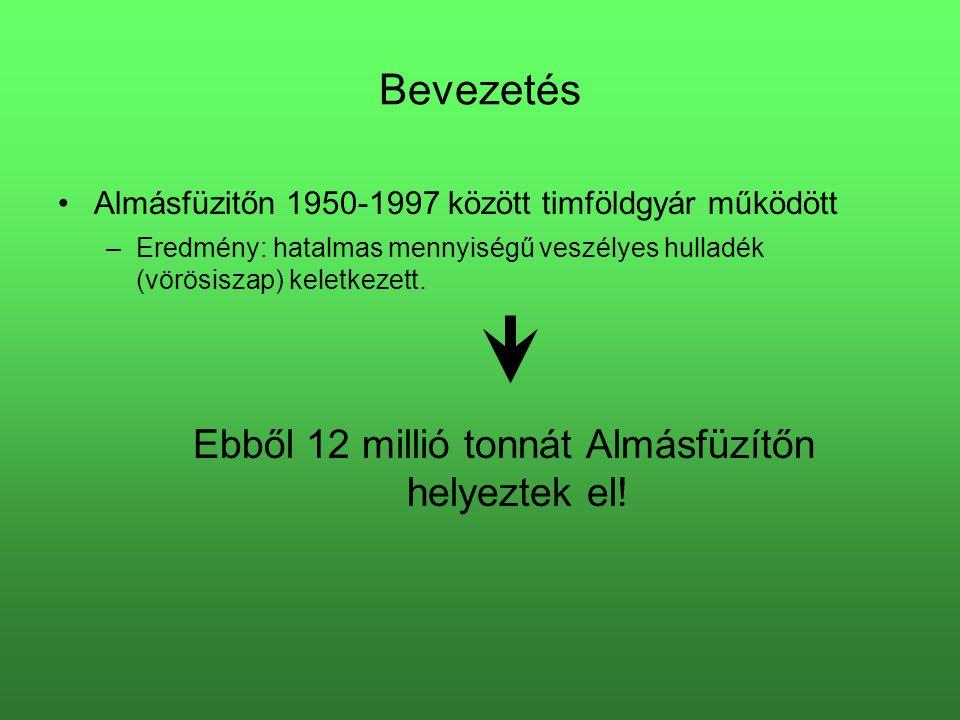 Bevezetés Almásfüzitőn 1950-1997 között timföldgyár működött –Eredmény: hatalmas mennyiségű veszélyes hulladék (vörösiszap) keletkezett. Ebből 12 mill