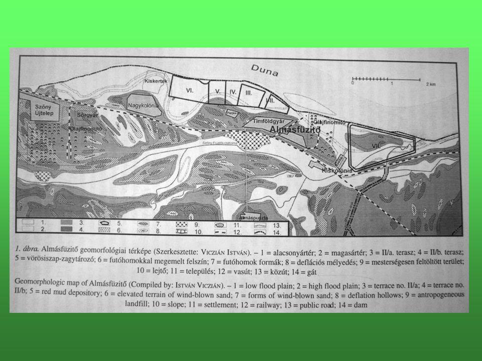 Régen: - Almásfüzitő környéke (Tata, Ó-Szőny, Dunaalmás térsége) vízrendezési munkálatok előtt  mocsarak Táplálás: karsztforrások + Duna felől táplálkozó talajvíz Ma: -10 km árvízvédelmi töltés, ami helyenként az zagytározó gátja is -Mélyebben fekvő részek  nádas Táplálás: Duna