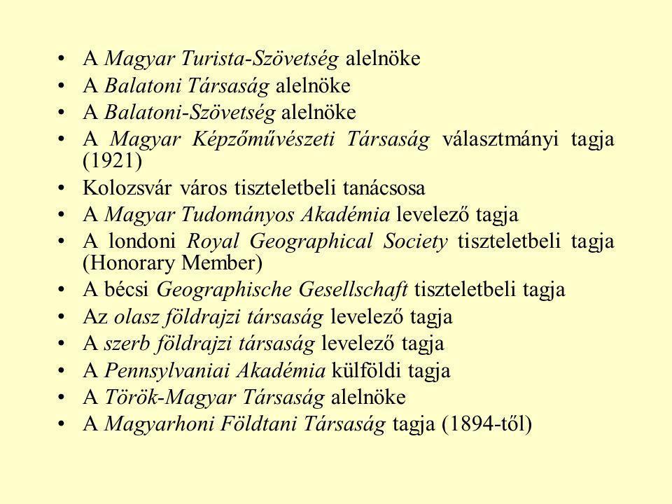 A Magyar Turista-Szövetség alelnöke A Balatoni Társaság alelnöke A Balatoni-Szövetség alelnöke A Magyar Képzőművészeti Társaság választmányi tagja (19