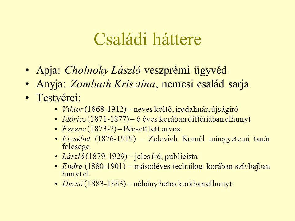 Családi háttere Apja: Cholnoky László veszprémi ügyvéd Anyja: Zombath Krisztina, nemesi család sarja Testvérei: Viktor (1868-1912) – neves költő, irod
