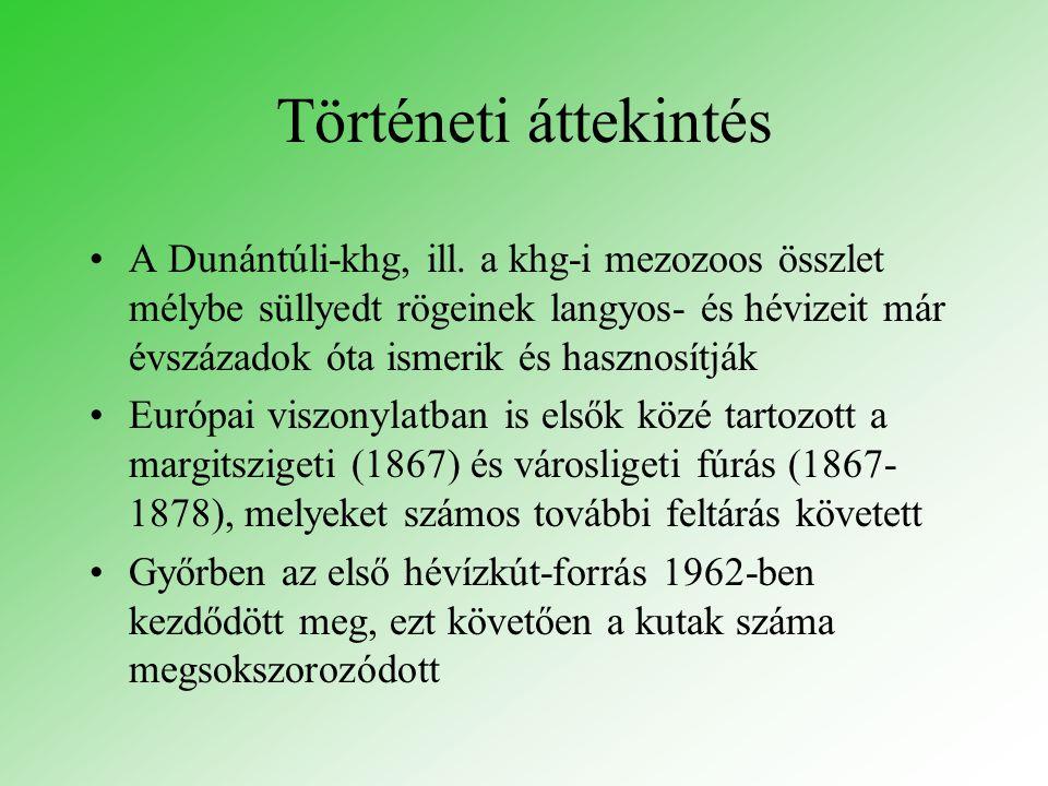 Történeti áttekintés A Dunántúli-khg, ill. a khg-i mezozoos összlet mélybe süllyedt rögeinek langyos- és hévizeit már évszázadok óta ismerik és haszno
