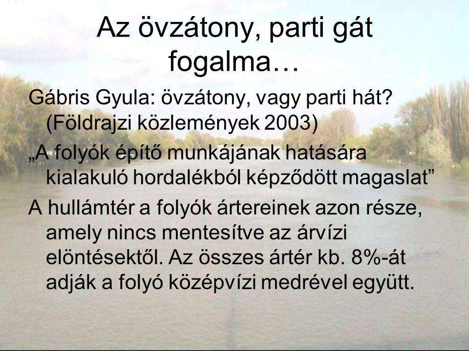 """Az övzátony, parti gát fogalma… Gábris Gyula: övzátony, vagy parti hát? (Földrajzi közlemények 2003) """"A folyók építő munkájának hatására kialakuló hor"""