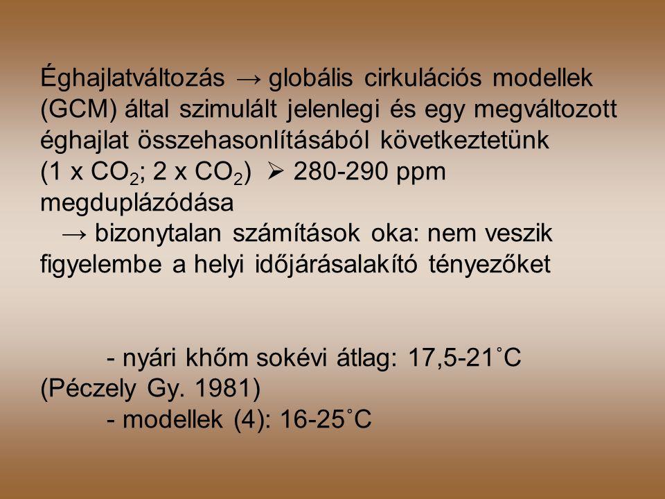 Éghajlatváltozás → globális cirkulációs modellek (GCM) által szimulált jelenlegi és egy megváltozott éghajlat összehasonlításából következtetünk (1 x