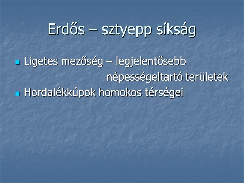 Erdős – sztyepp síkság Ligetes mezőség – legjelentősebb Ligetes mezőség – legjelentősebb népességeltartó területek népességeltartó területek Hordalékkúpok homokos térségei Hordalékkúpok homokos térségei