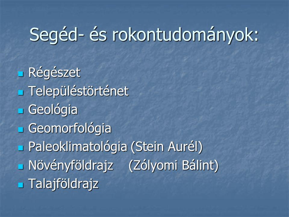 Segéd- és rokontudományok: Régészet Régészet Településtörténet Településtörténet Geológia Geológia Geomorfológia Geomorfológia Paleoklimatológia (Stein Aurél) Paleoklimatológia (Stein Aurél) Növényföldrajz (Zólyomi Bálint) Növényföldrajz (Zólyomi Bálint) Talajföldrajz Talajföldrajz