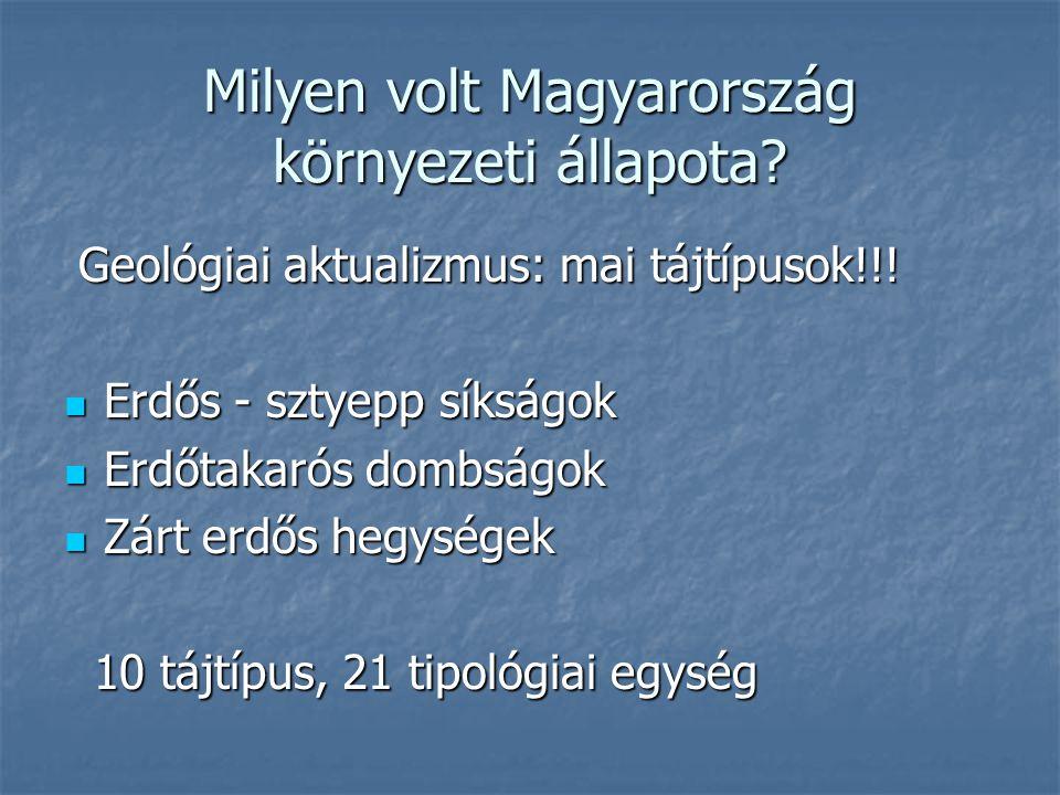 Milyen volt Magyarország környezeti állapota.Geológiai aktualizmus: mai tájtípusok!!.