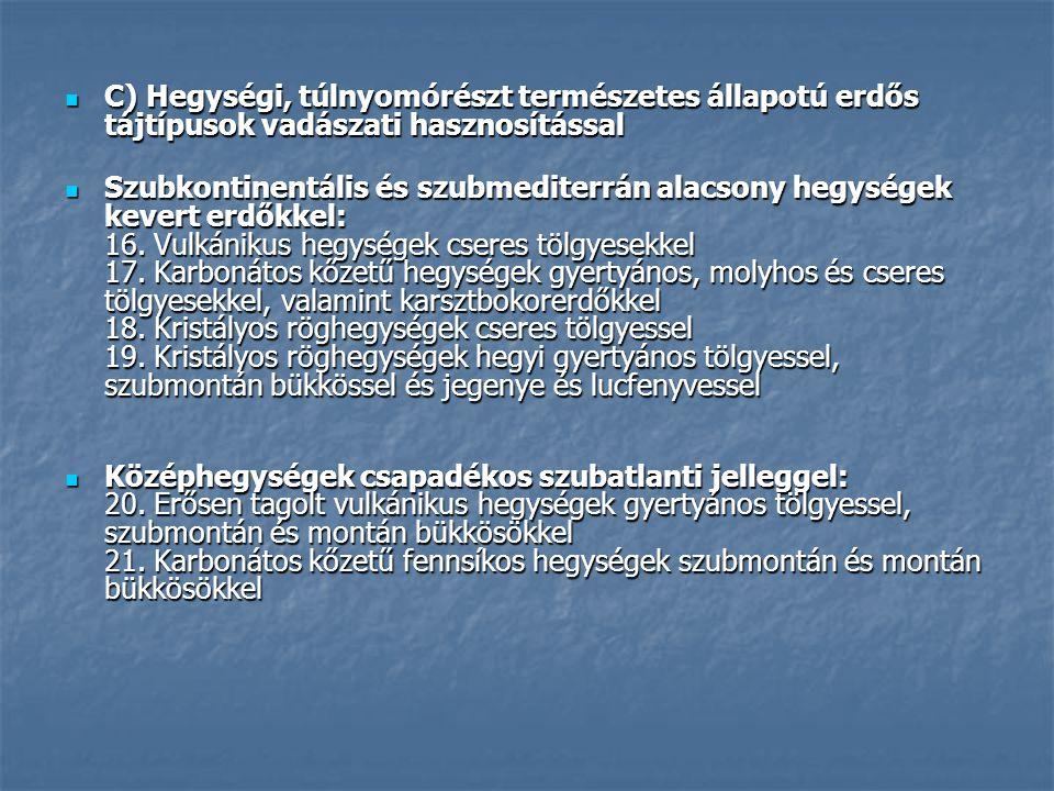 Erdős – sztyepp síkság Ligetes jelleg Ligetes jelleg Pusztamezők Pusztamezők Árterek Árterek füzes - nyáras puhafa ligeterdő füzes - nyáras puhafa ligeterdő szil-kőris-tölgy keményfás ligeterdő szil-kőris-tölgy keményfás ligeterdő