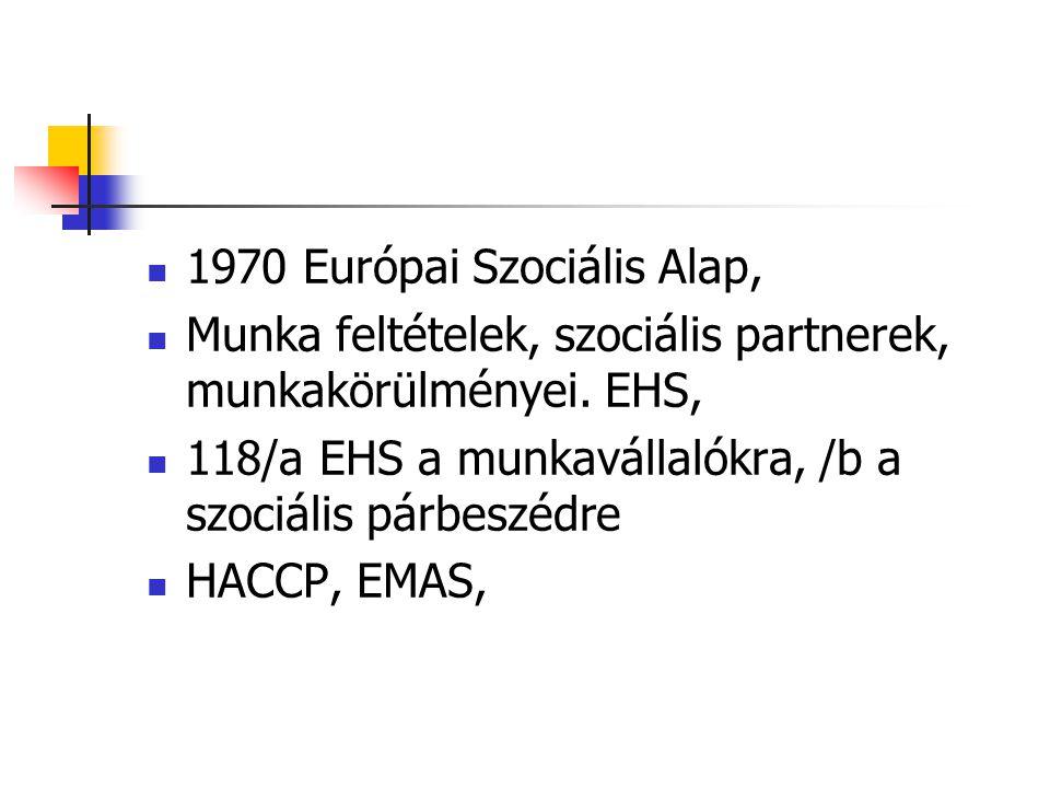 1970 Európai Szociális Alap, Munka feltételek, szociális partnerek, munkakörülményei. EHS, 118/a EHS a munkavállalókra, /b a szociális párbeszédre HAC