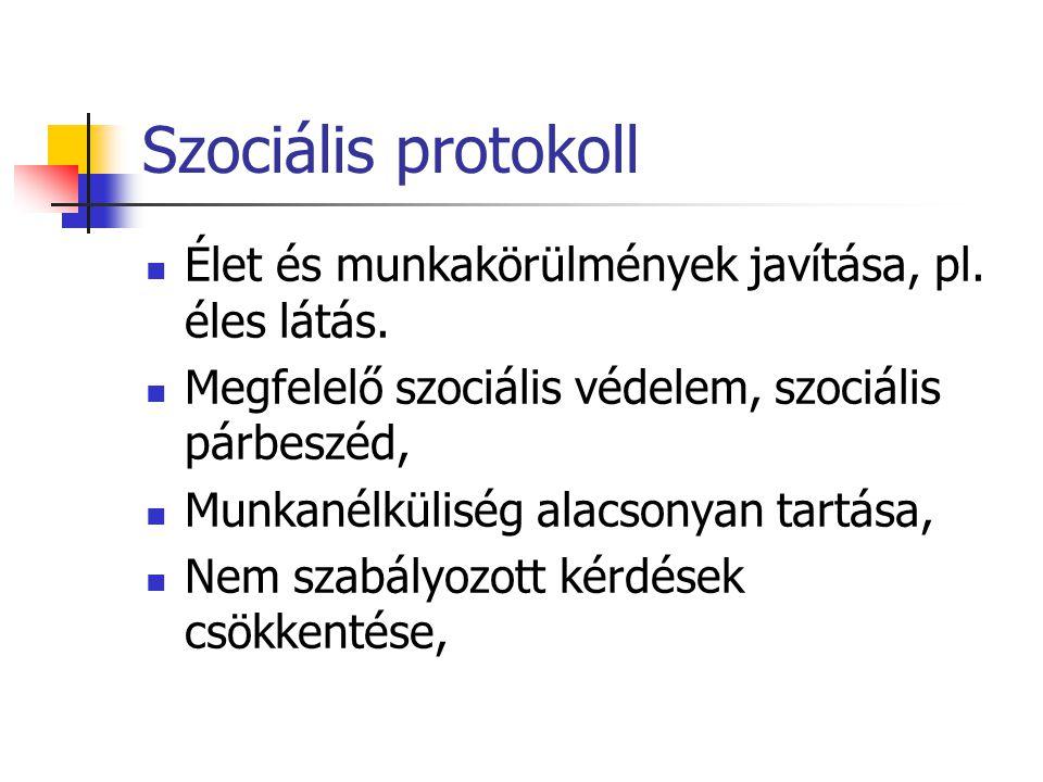 Szociális protokoll Élet és munkakörülmények javítása, pl. éles látás. Megfelelő szociális védelem, szociális párbeszéd, Munkanélküliség alacsonyan ta