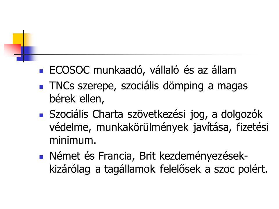 ECOSOC munkaadó, vállaló és az állam TNCs szerepe, szociális dömping a magas bérek ellen, Szociális Charta szövetkezési jog, a dolgozók védelme, munka