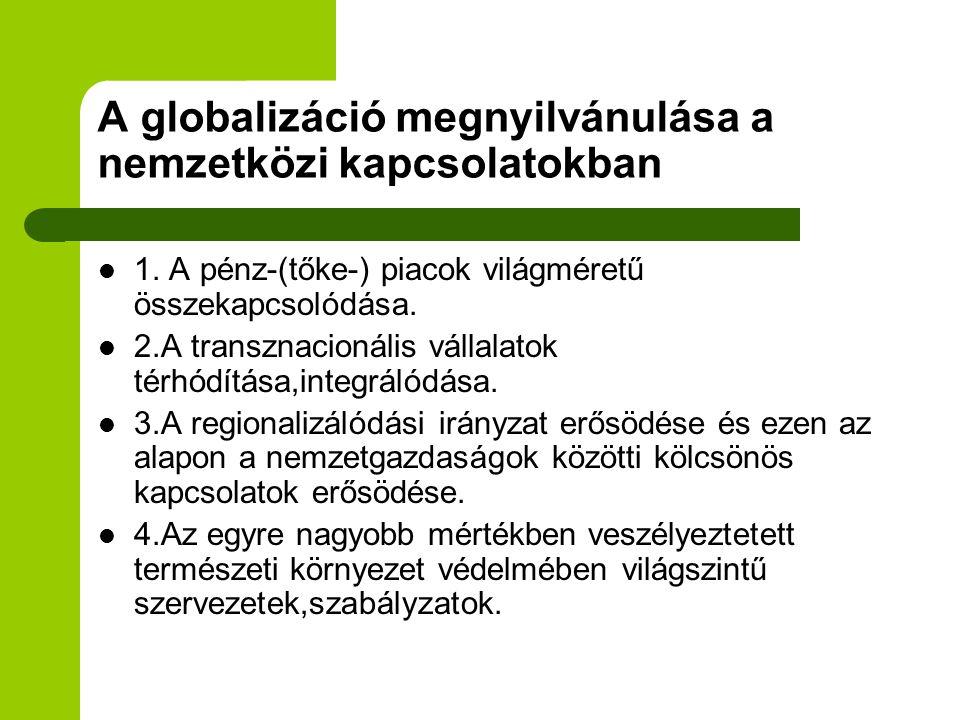 A globalizáció megnyilvánulása a nemzetközi kapcsolatokban 1. A pénz-(tőke-) piacok világméretű összekapcsolódása. 2.A transznacionális vállalatok tér
