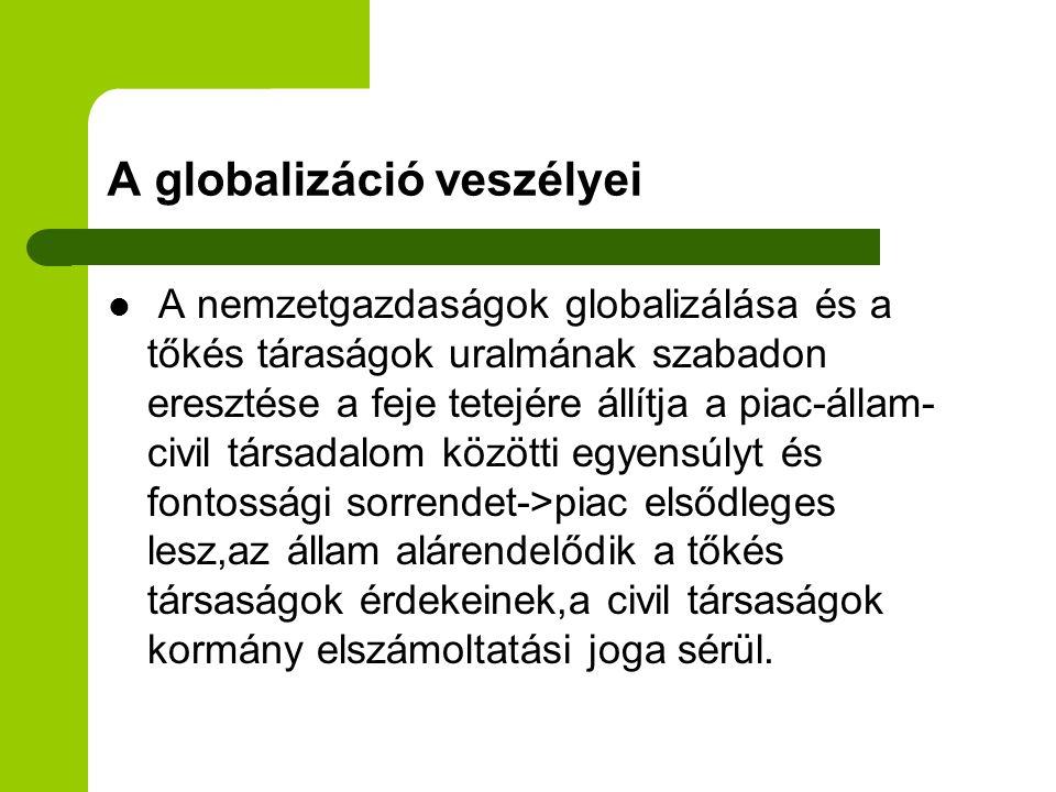 A globalizáció veszélyei A nemzetgazdaságok globalizálása és a tőkés táraságok uralmának szabadon eresztése a feje tetejére állítja a piac-állam- civi