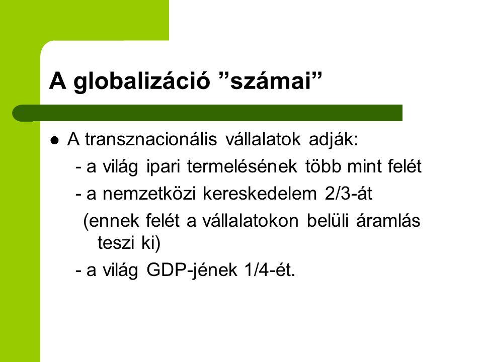 """A globalizáció """"számai"""" A transznacionális vállalatok adják: - a világ ipari termelésének több mint felét - a nemzetközi kereskedelem 2/3-át (ennek fe"""