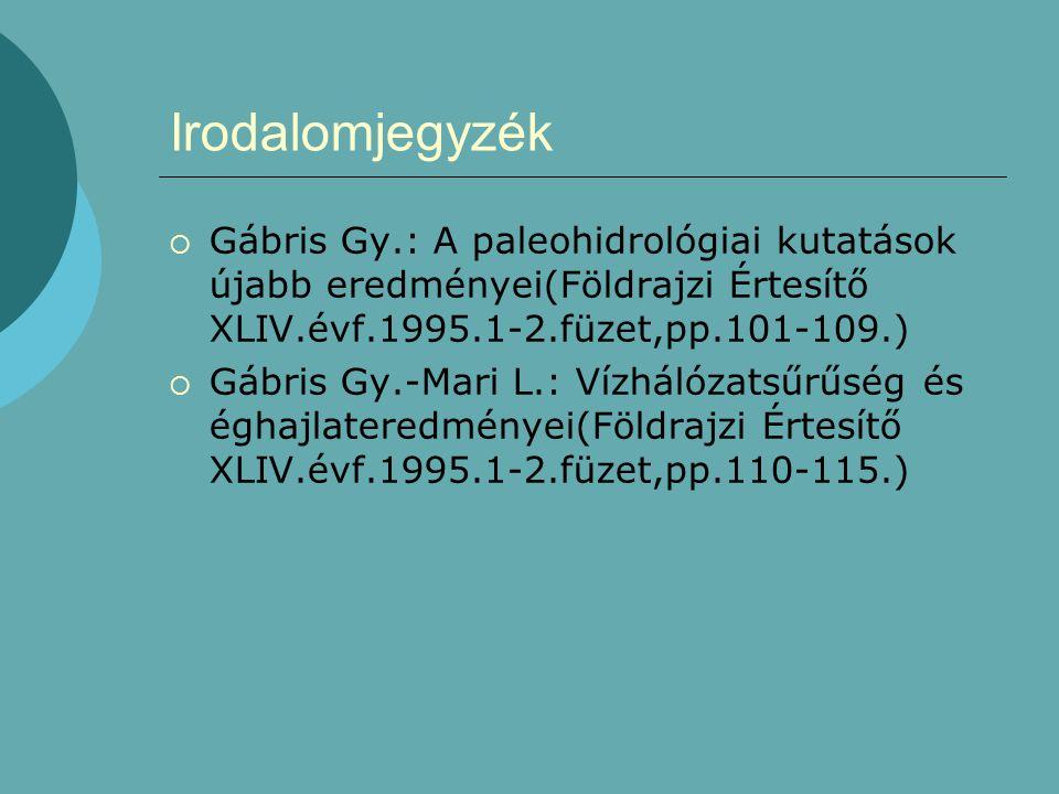 Irodalomjegyzék  Gábris Gy.: A paleohidrológiai kutatások újabb eredményei(Földrajzi Értesítő XLIV.évf.1995.1-2.füzet,pp.101-109.)  Gábris Gy.-Mari