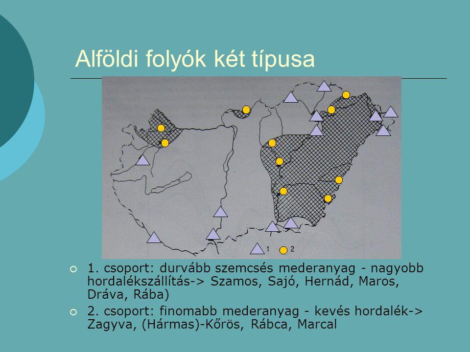 Alföldi folyók két típusa  1. csoport: durvább szemcsés mederanyag - nagyobb hordalékszállítás-> Szamos, Sajó, Hernád, Maros, Dráva, Rába)  2. csopo
