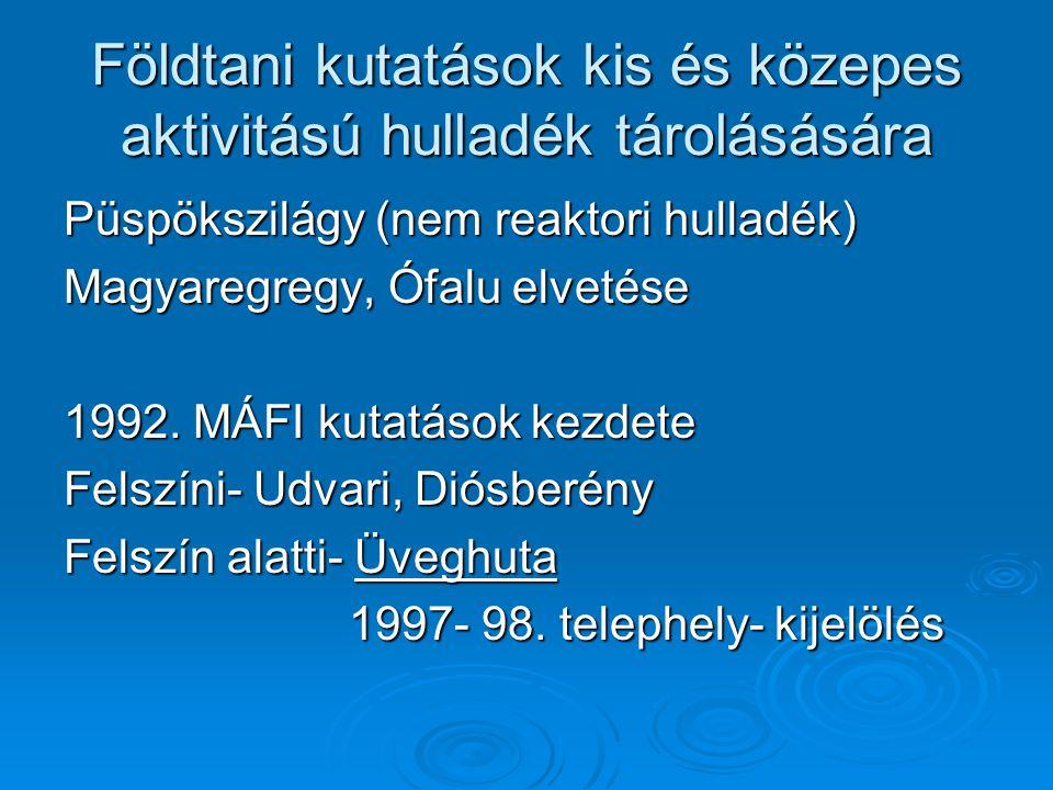 Földtani kutatások kis és közepes aktivitású hulladék tárolásására Püspökszilágy (nem reaktori hulladék) Magyaregregy, Ófalu elvetése 1992.