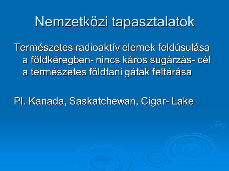Nemzetközi tapasztalatok Természetes radioaktív elemek feldúsulása a földkéregben- nincs káros sugárzás- cél a természetes földtani gátak feltárása Pl.