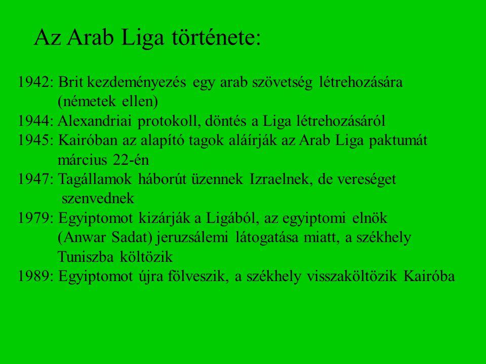 Az Arab Liga története: 1942: Brit kezdeményezés egy arab szövetség létrehozására (németek ellen) 1944: Alexandriai protokoll, döntés a Liga létrehozá