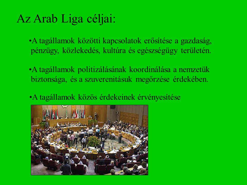 Az Arab Liga céljai: A tagállamok közötti kapcsolatok erősítése a gazdaság, pénzügy, közlekedés, kultúra és egészségügy területén. A tagállamok politi