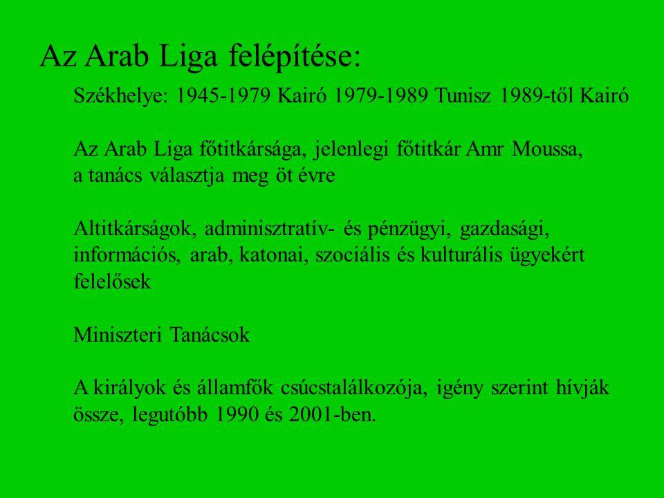 Az Arab Liga felépítése: Székhelye: 1945-1979 Kairó 1979-1989 Tunisz 1989-től Kairó Az Arab Liga főtitkársága, jelenlegi főtitkár Amr Moussa, a tanács