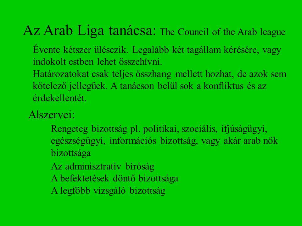 Az Arab Liga tanácsa: The Council of the Arab league Alszervei: Rengeteg bizottság pl. politikai, szociális, ifjúságügyi, egészségügyi, információs bi