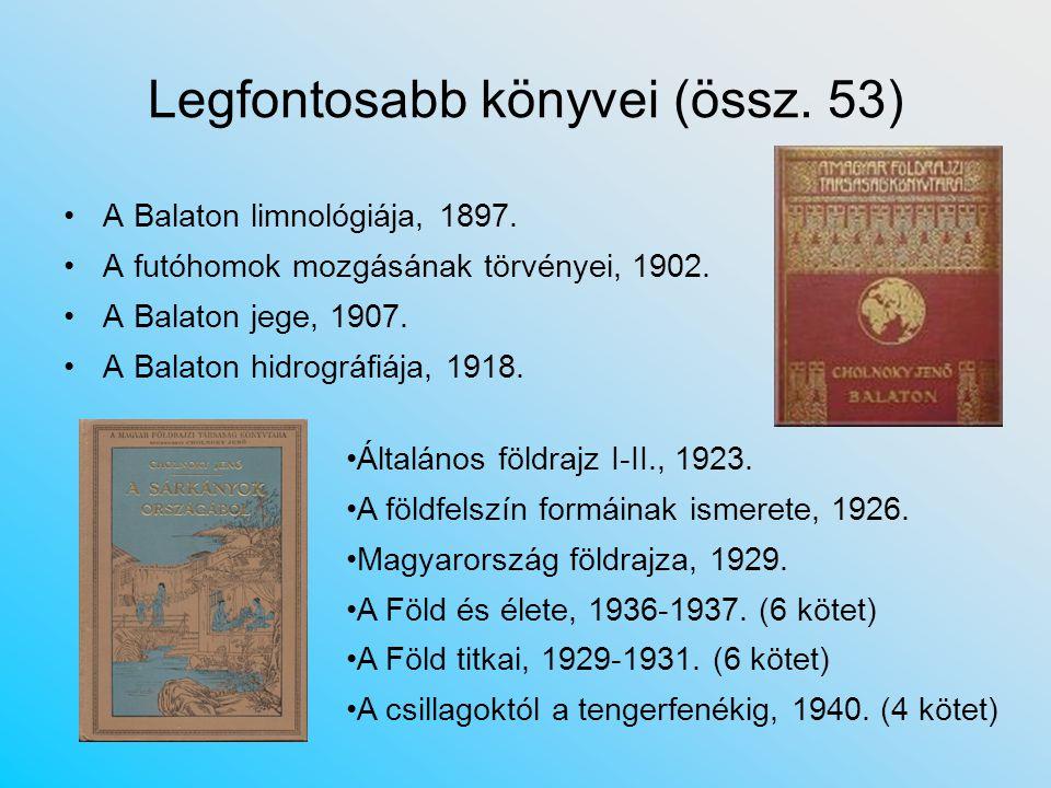 Legfontosabb könyvei (össz.53) A Balaton limnológiája, 1897.