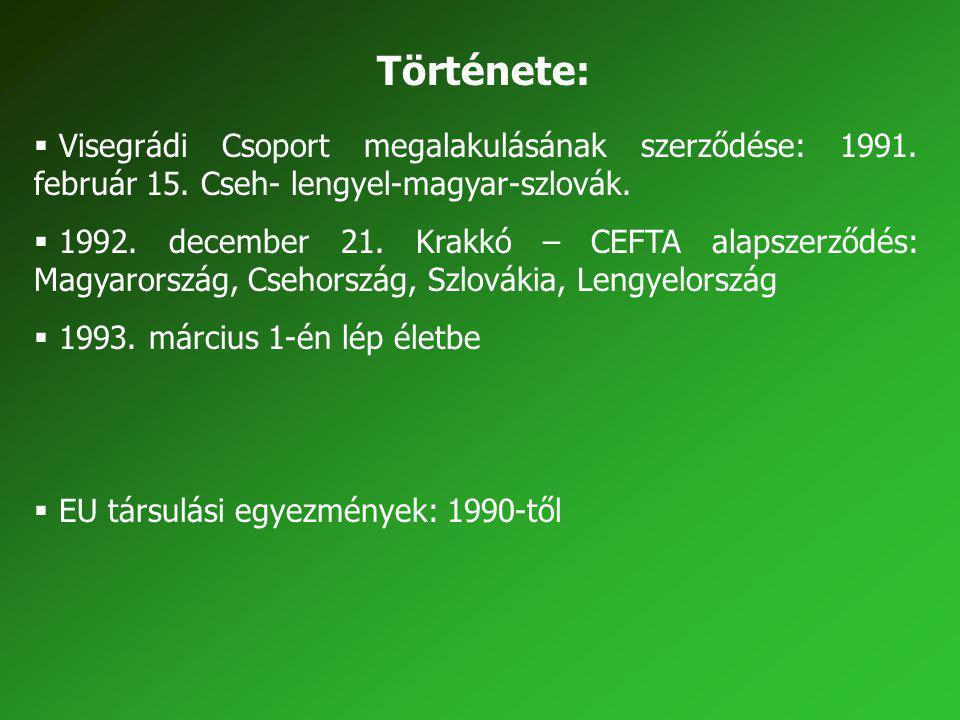 Története:  Visegrádi Csoport megalakulásának szerződése: 1991. február 15. Cseh- lengyel-magyar-szlovák.  1992. december 21. Krakkó – CEFTA alapsze