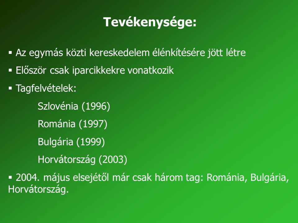 Tevékenysége:  Az egymás közti kereskedelem élénkítésére jött létre  Először csak iparcikkekre vonatkozik  Tagfelvételek: Szlovénia (1996) Románia