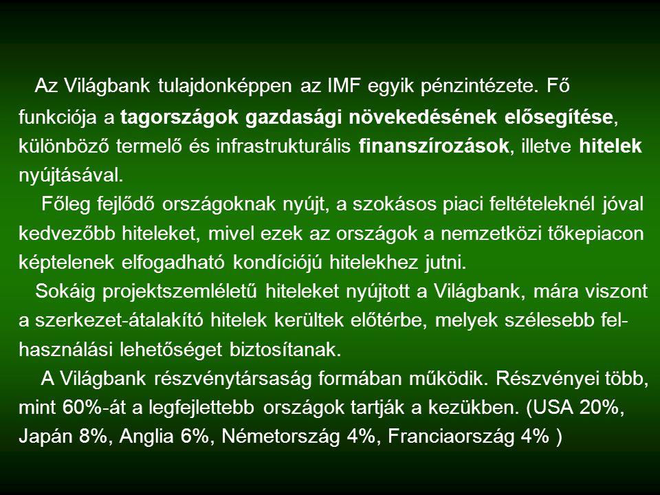 Az Világbank tulajdonképpen az IMF egyik pénzintézete.