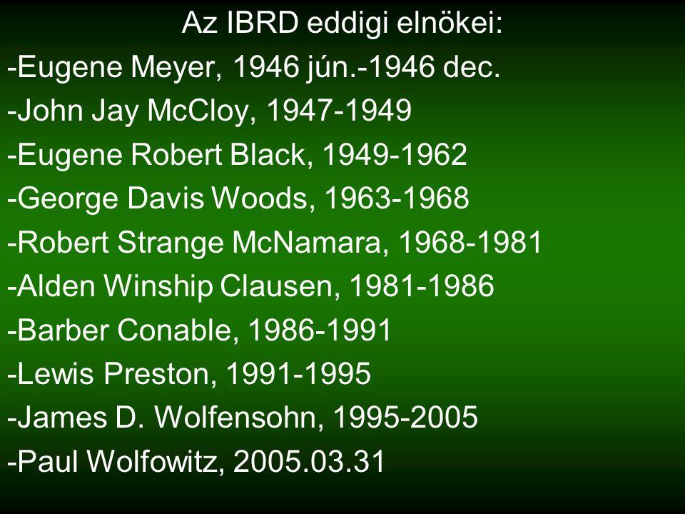Az IBRD eddigi elnökei: -Eugene Meyer, 1946 jún.-1946 dec.