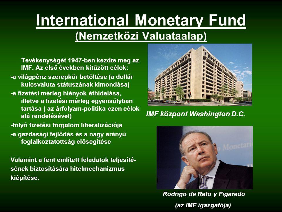 International Monetary Fund (Nemzetközi Valuataalap) Tevékenységét 1947-ben kezdte meg az IMF.