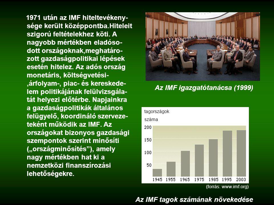 1971 után az IMF hiteltevékeny- sége került középpontba.Hiteleit szigorú feltételekhez köti.