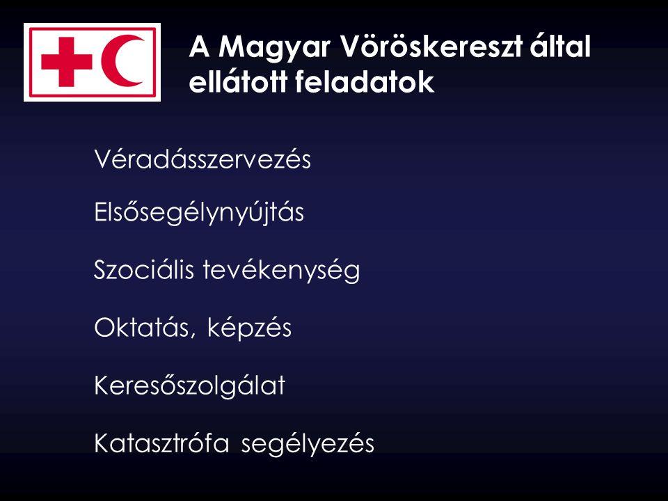 A Magyar Vöröskereszt által ellátott feladatok Véradásszervezés Elsősegélynyújtás Szociális tevékenység Oktatás, képzés Keresőszolgálat Katasztrófa se