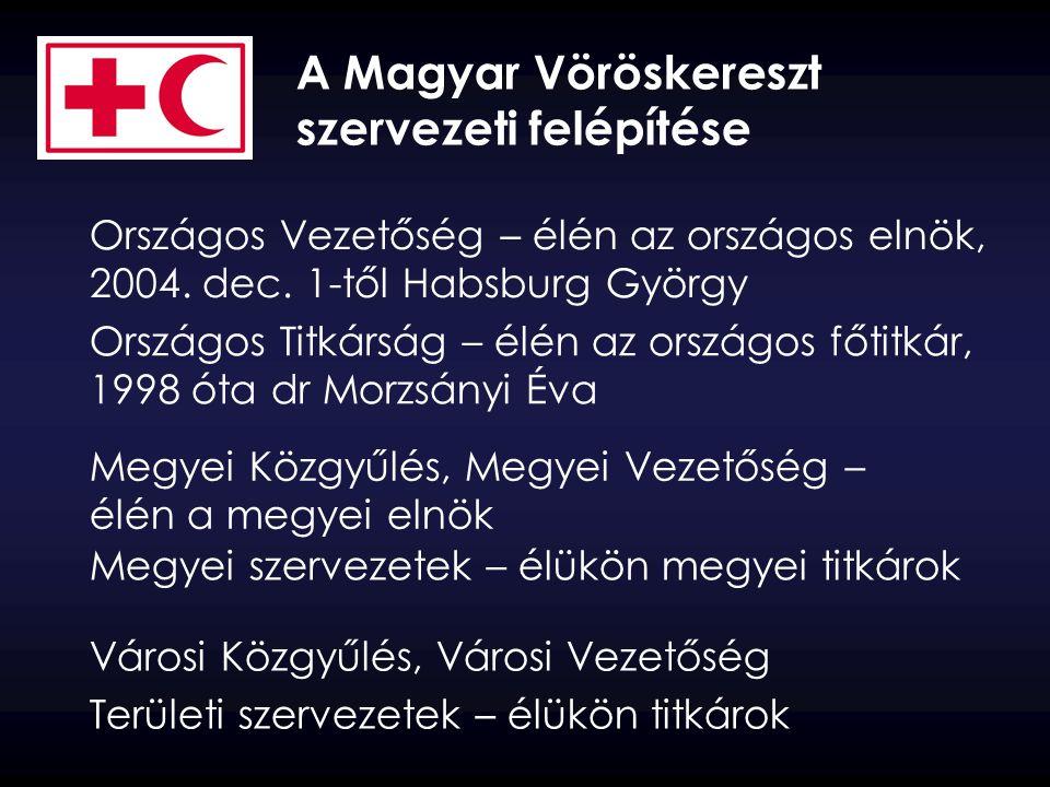 A Magyar Vöröskereszt szervezeti felépítése Országos Vezetőség – élén az országos elnök, 2004. dec. 1-től Habsburg György Országos Titkárság – élén az
