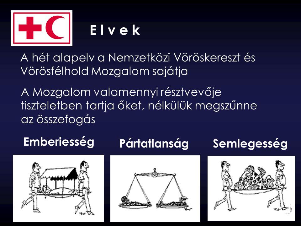 Emberiesség PártatlanságSemlegesség E l v e k A hét alapelv a Nemzetközi Vöröskereszt és Vörösfélhold Mozgalom sajátja A Mozgalom valamennyi résztvevő