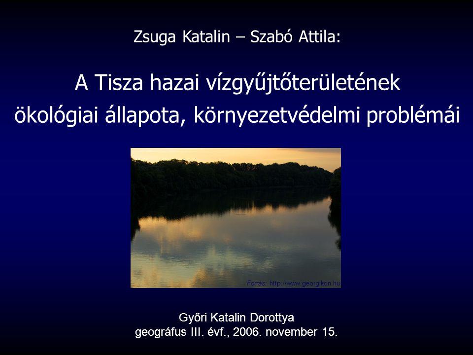 Zsuga Katalin – Szabó Attila: A Tisza hazai vízgyűjtőterületének ökológiai állapota, környezetvédelmi problémái Győri Katalin Dorottya geográfus III.