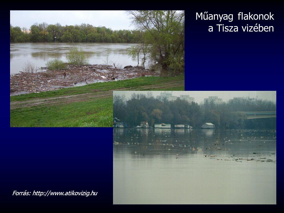 Műanyag flakonok a Tisza vizében Forrás: http://www.atikovizig.hu