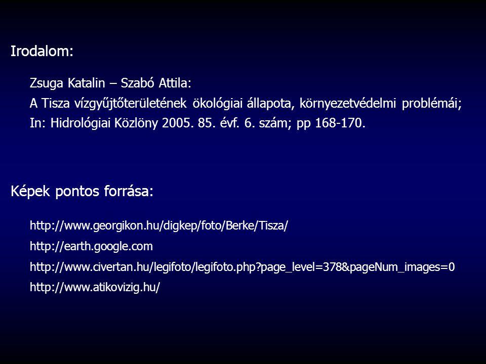 Irodalom: Zsuga Katalin – Szabó Attila: A Tisza vízgyűjtőterületének ökológiai állapota, környezetvédelmi problémái; In: Hidrológiai Közlöny 2005.