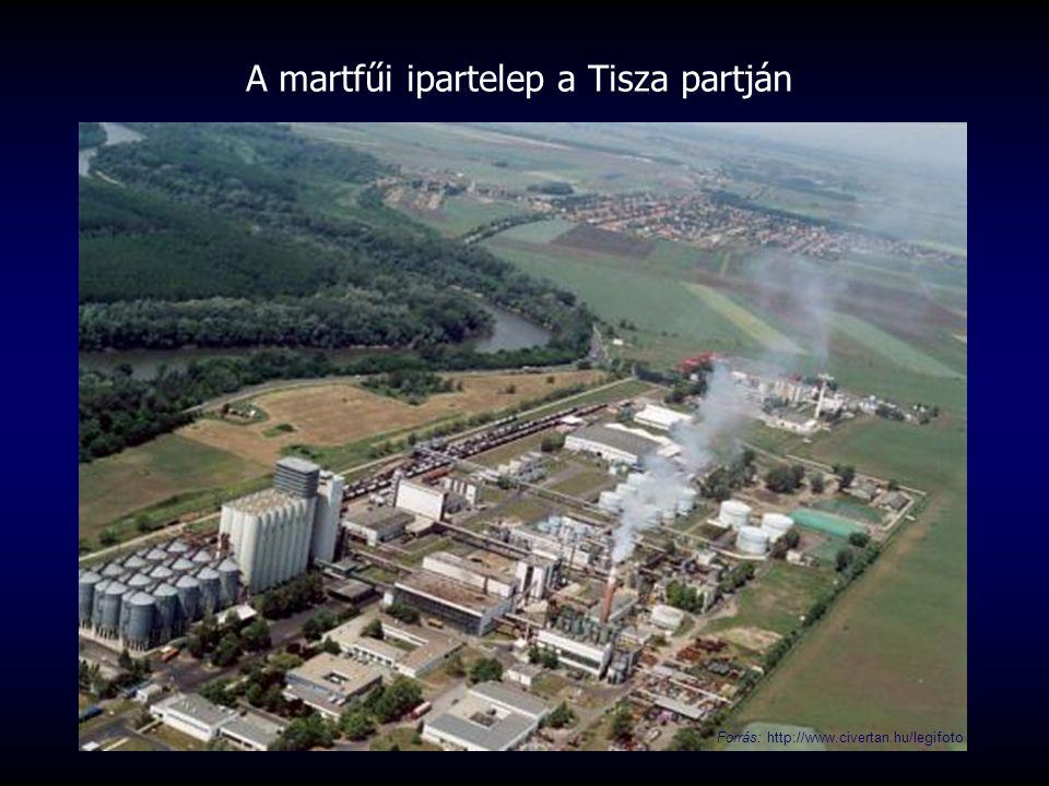 A martfűi ipartelep a Tisza partján Forrás: http://www.civertan.hu/legifoto