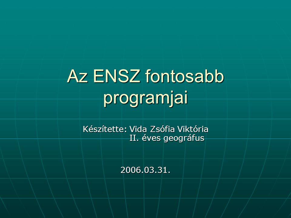 Az ENSZ fontosabb programjai Készítette: Vida Zsófia Viktória II. éves geográfus 2006.03.31.
