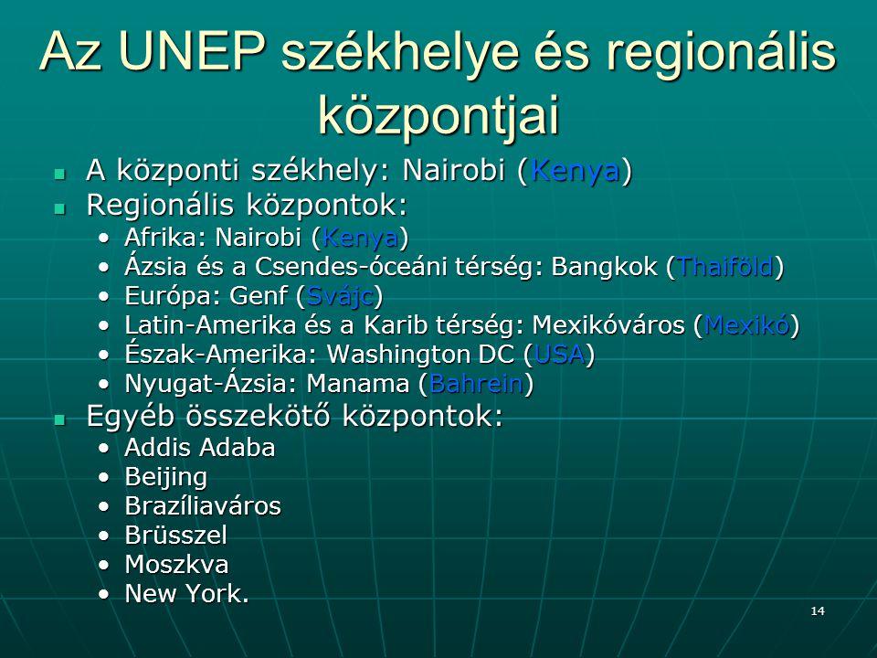 14 Az UNEP székhelye és regionális központjai A központi székhely: Nairobi (Kenya) A központi székhely: Nairobi (Kenya) Regionális központok: Regionál