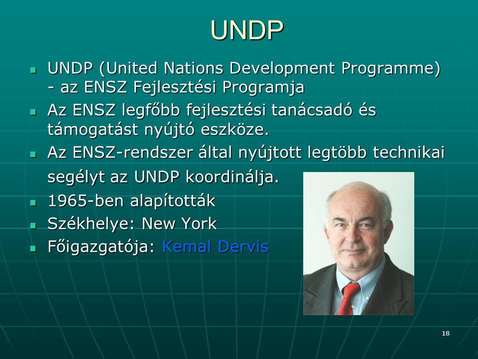 18 UNDP UNDP (United Nations Development Programme) - az ENSZ Fejlesztési Programja UNDP (United Nations Development Programme) - az ENSZ Fejlesztési