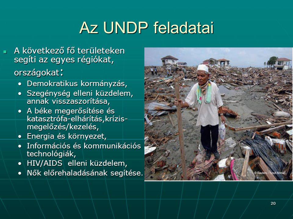 20 Az UNDP feladatai A következő fő területeken segíti az egyes régiókat, országokat : A következő fő területeken segíti az egyes régiókat, országokat