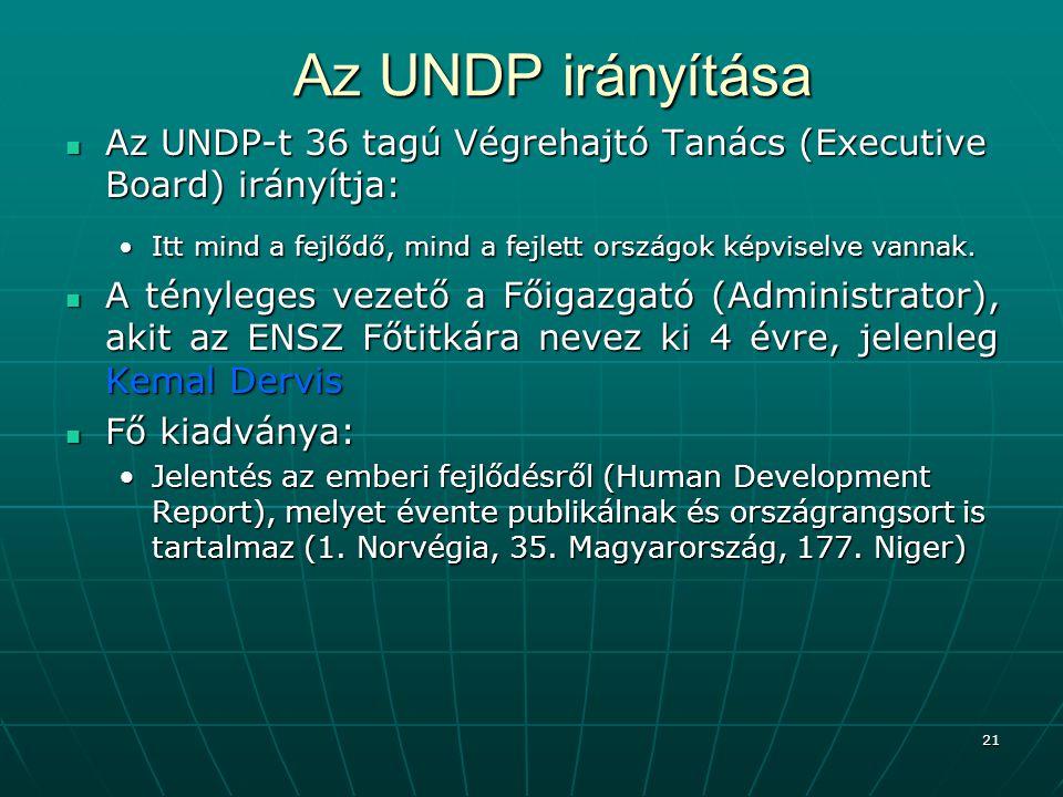21 Az UNDP irányítása Az UNDP-t 36 tagú Végrehajtó Tanács (Executive Board) irányítja: Az UNDP-t 36 tagú Végrehajtó Tanács (Executive Board) irányítja