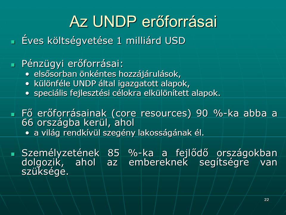 22 Az UNDP erőforrásai Éves költségvetése 1 milliárd USD Éves költségvetése 1 milliárd USD Pénzügyi erőforrásai: Pénzügyi erőforrásai: elsősorban önké