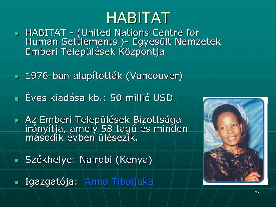 27HABITAT HABITAT - (United Nations Centre for Human Settlements )- Egyesült Nemzetek Emberi Települések Központja HABITAT - (United Nations Centre fo