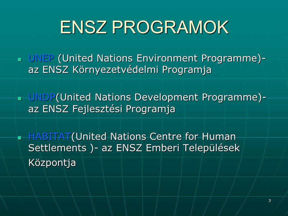 14 Az UNEP székhelye és regionális központjai A központi székhely: Nairobi (Kenya) A központi székhely: Nairobi (Kenya) Regionális központok: Regionális központok: Afrika: Nairobi (Kenya)Afrika: Nairobi (Kenya) Ázsia és a Csendes-óceáni térség: Bangkok (Thaiföld)Ázsia és a Csendes-óceáni térség: Bangkok (Thaiföld) Európa: Genf (Svájc)Európa: Genf (Svájc) Latin-Amerika és a Karib térség: Mexikóváros (Mexikó)Latin-Amerika és a Karib térség: Mexikóváros (Mexikó) Észak-Amerika: Washington DC (USA)Észak-Amerika: Washington DC (USA) Nyugat-Ázsia: Manama (Bahrein)Nyugat-Ázsia: Manama (Bahrein) Egyéb összekötő központok: Egyéb összekötő központok: Addis AdabaAddis Adaba BeijingBeijing BrazíliavárosBrazíliaváros BrüsszelBrüsszel MoszkvaMoszkva New York.New York.